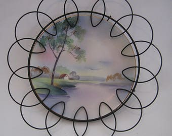 Vintage Landscape Plate in Wire Frame, Noritake china plate, curly wire holder, porcelain plate, art deco wire holder, pastel nature scene