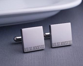 Men/'s Cuff Links Shirt Fasteners Personalized Square Cuff links Roman Numerals Cufflinks Wedding Gift Gift for boyfriend husband