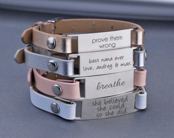 Custom Anniversary Gift for Her, Design Your Own Engraved Leather Bracelet, Personalized Bracelet, Christmas Gift for Wife, Graduation Gift