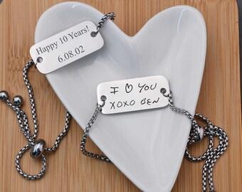 Anniversary Gift for Her, Custom Handwriting Bracelet, Adjustable Engraved Bracelet, Engraved Handwriting Gift, Wedding Gift for Her