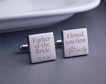 Father of the Bride Cufflinks, Father of the Bride Gift for Wedding, I loved you first cufflinks, Personalized Gift for Father of the Bride