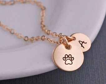 Gold Paw Print Necklace, Personalized Pet Jewelry, Custom Pet Lover Necklace, Memorial Jewelry for Pets, Loss of Pet Gift