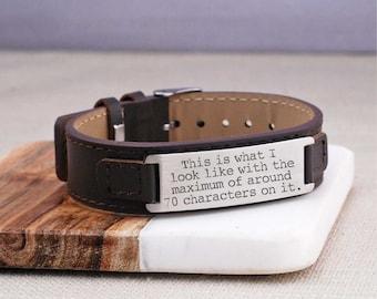 Design Your Own Custom Bracelet, Men's Leather Bracelet Personalized, Gift for Husband, Christmas Gift for Dad, Gift for Boyfriend