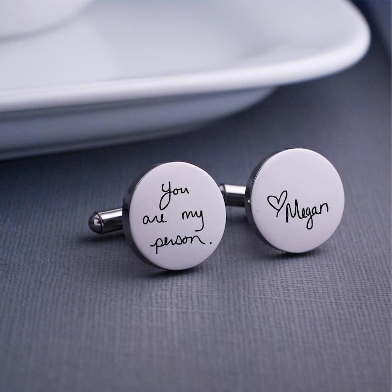Personalized Cuff Links Handwriting Cufflinks Wedding Gift Etsy