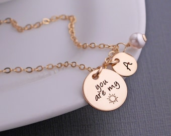 You are my Sunshine Necklace, You are my sunshine Jewelry gift for Granddaughter, Gift for Daughter