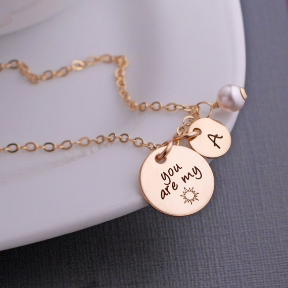 You Are My Sunshine Necklace Valentine S Day Jewelry Gift Etsy