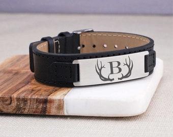 Men's Leather Bracelet, Personalized Bracelet for Men, Men's Leather Bracelet with Antlers and Initial