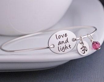 Love and Light Bracelet, Yoga Jewelry, Yoga Bangle Bracelet, Yogi Jewelry Gift