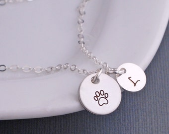 Paw Print Necklace, Custom Pet Memorial Necklace, Personalized Cat or Dog Jewelry, Paw Print Jewelry, Loss of Pet Gift, Animal Lover Jewelry