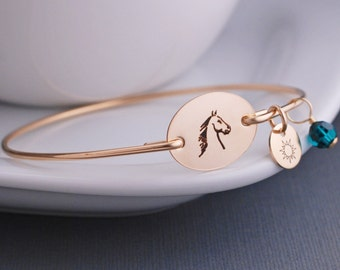 Horse Bangle Bracelet, Custom Horse Jewelry, Personalized Equestrian Jewelry, Horse Bracelet, Jockey Gift
