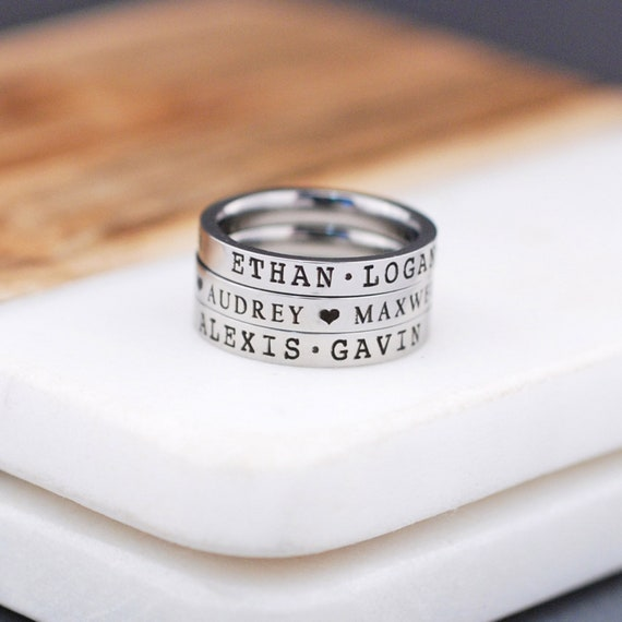 Name Stacking Ring Engraved Name Ring Personalized Name Etsy