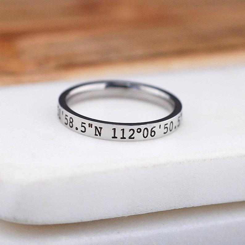 2b1a3e7a42 Latitude Longitude Stacking Ring 3mm Engraved Coordinates | Etsy