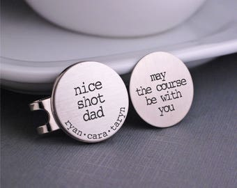 Christmas Gift for Dad, Golf Ball Markers, Personalized Steel Golf Gift for Dad, Golfer Gift, May the Course Be With You