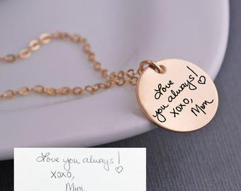 Custom Handwriting Necklace, Gold Handwriting Jewelry, Personalized Gift for Mother's Day Gift for Mom or Grandmother