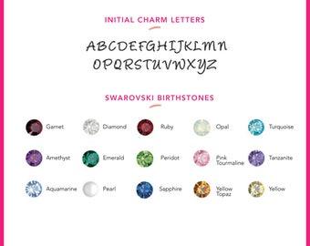 ADD A CHARM.  Initials, Swarovski Crystal Birthstones, Swarvoski Pearls, Silver or 14k Gold Filled