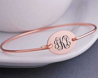Rose Gold Bracelet, Monogrammed Bracelet, Rose Gold Monogram Jewelry, Monogrammed Bangle Bracelet, Personalized Bridesmaid Gift