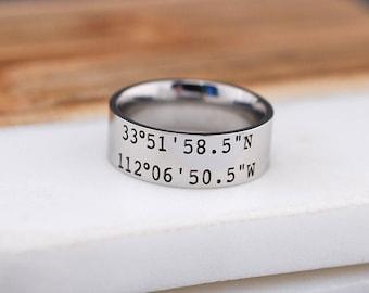 Latitude Longitude Ring, 8mm Engraved Coordinates Men's Ring, Personalized Men's Ring, Engraved GPS Coordinates Ring, Anniversary Gift