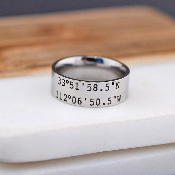 Latitude Longitude Ring Anniversary Gift Engraved GPS Coordinates Ring Personalized Mens Ring 8mm Engraved Coordinates Mens Ring