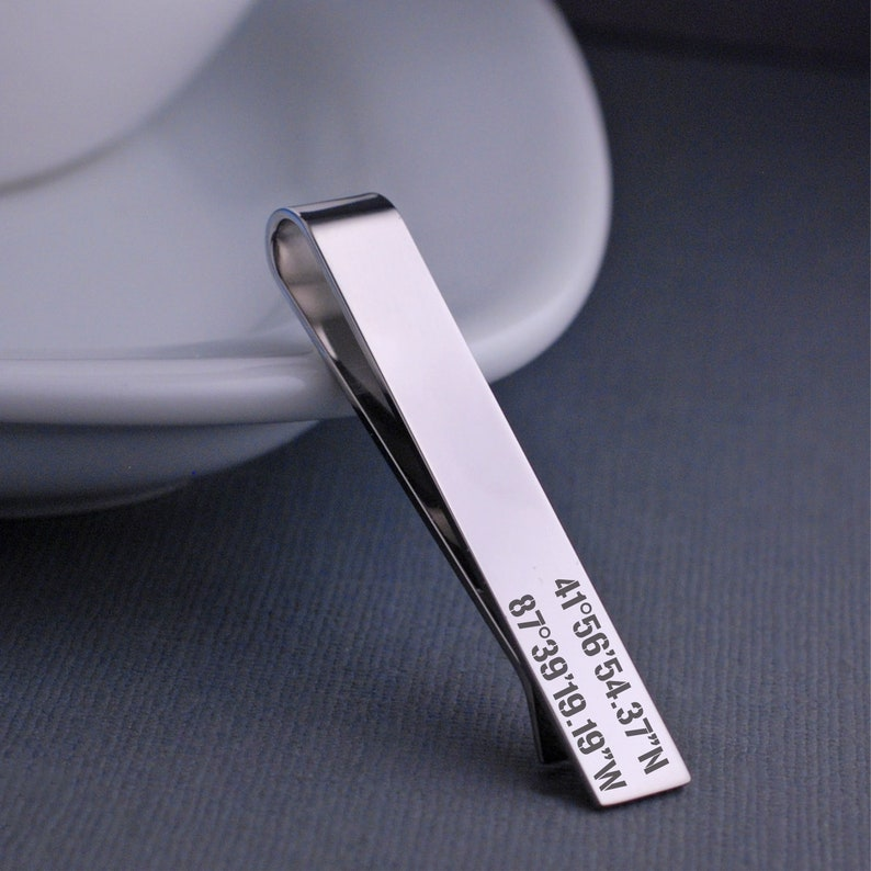 Coordinates Tie Clip Latitude Longitude Tie Bar Location Gift Personalised Tie Clip Gift For Groom Anniversary Tie Bar Tie Clip