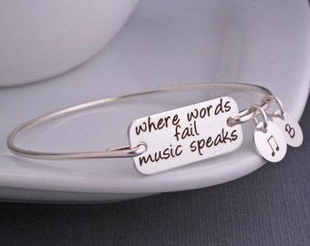 Music Jewelry, Where Words Fail Music Speaks Bangle Bracelet, Music Lover Gift, Music Note, Music Teacher Gift
