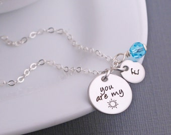 You are my Sunshine Necklace, Custom You are my sunshine Jewelry Gift for Daughter, Granddaughter Jewelry, Sunshine Necklace