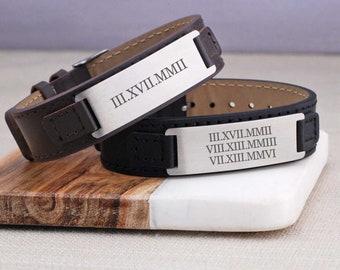 Men's Leather Bracelet Personalized, Custom Men's Roman Numeral Bracelet, Bracelet for Men, Christmas Gift for Husband or Dad