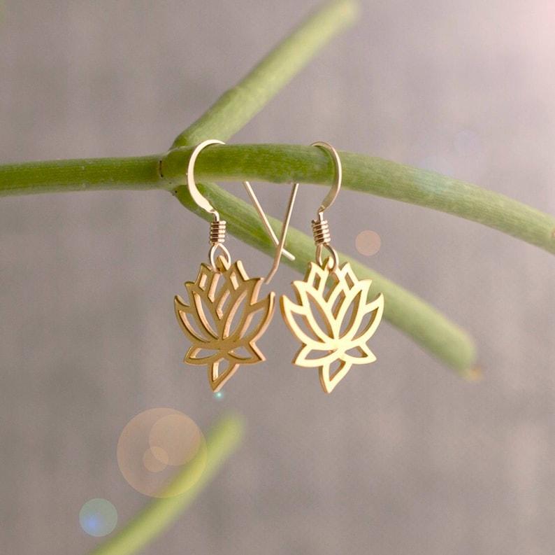 Gold Lotus Earrings Lotus Flower Earrings Lotus Jewelry Etsy