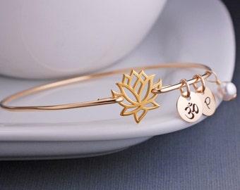 Yogi Gift, Gold Lotus Jewelry, Lotus Flower Bangle Bracelet, Yoga Jewelry, Gold Bangle Bracelet, Stackable Bangles Fall Fashion