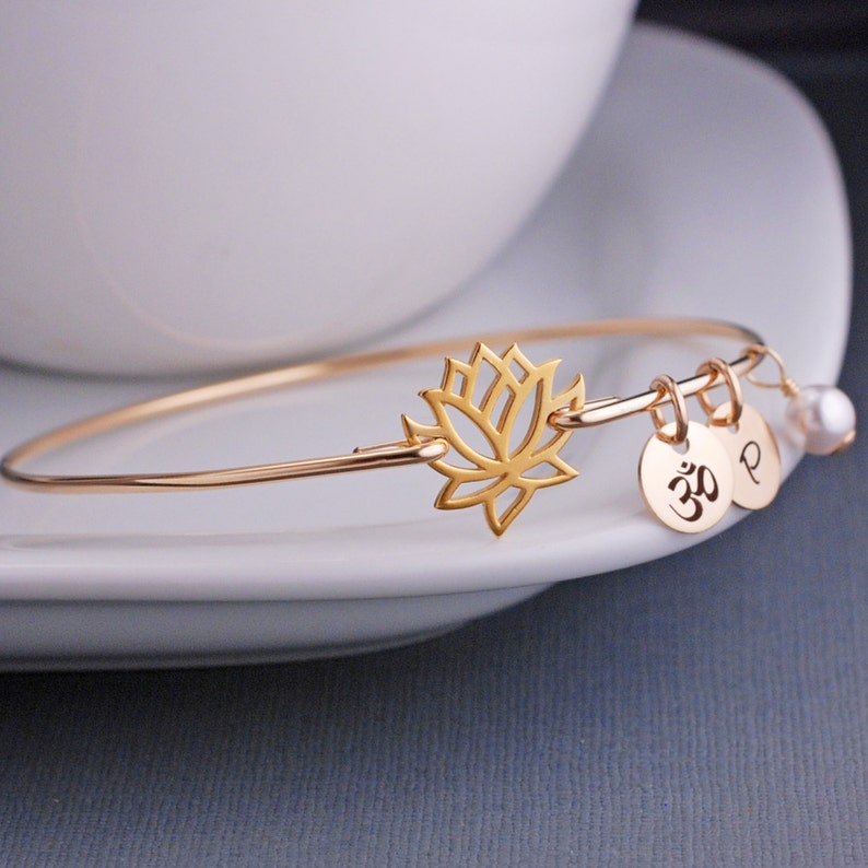 b1d63f566b7e5 Yogi Gift, Gold Lotus Jewelry, Lotus Flower Bangle Bracelet, Yoga Jewelry,  Gold Bangle Bracelet, Stackable Bangles Fall Fashion
