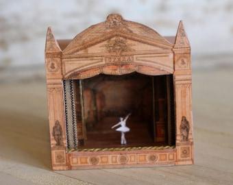 Dolls house miniature vintage paper toy theatre
