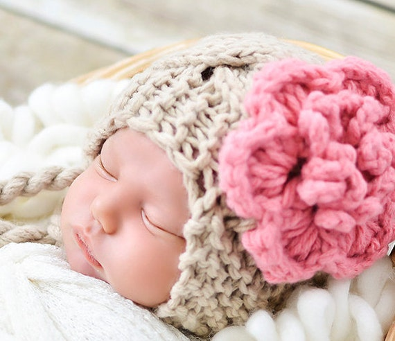 3cf4a479f85 Crochet Baby Hat Baby Girl Hat Ear Flap Hat Baby Newborn