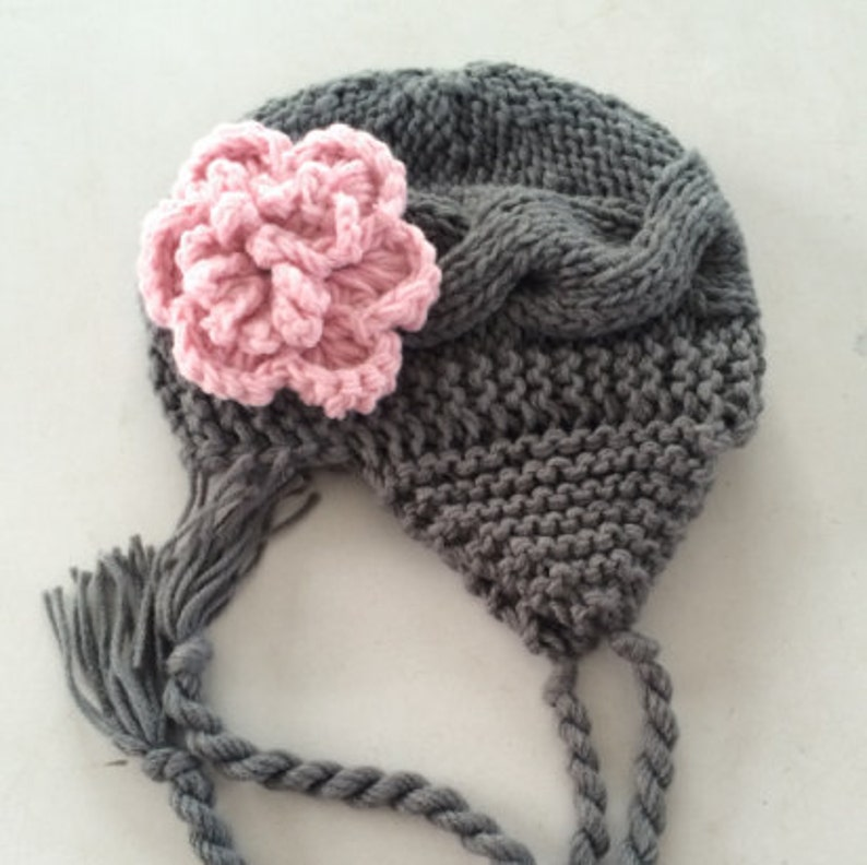 Crochet Baby Hat Baby Girl Hat Ear Flap Hat Baby Newborn Etsy