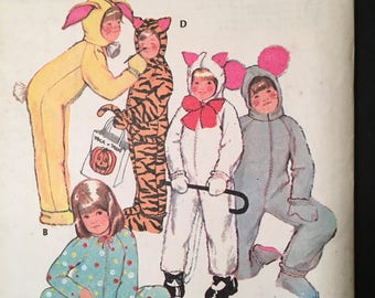 1972 uncut McCalls pattern #3355 boy/girl/child size 8 chest 27  easy animal costumes tiger mouse cat w/ detachable headpiece  sc 1 st  Etsy & Vintage cat costume | Etsy