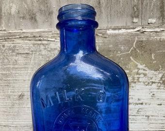 Antique Blue Milk of Magnesia Bottle,  collectible c.1920