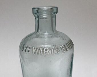 Antique Collectible Clear Cork Top Mrs. Stewart's Bluing Bottle