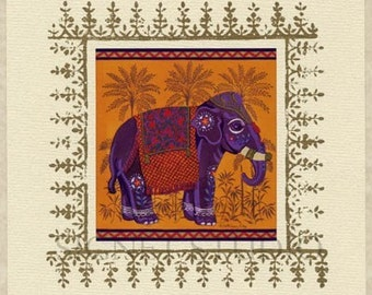 Indian Elephant lithographed art print set of 2, FREE SHIPPING in the USA!