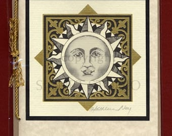 Celestial vintage art card lithographed with gold foil, sun moon constellations. FREE SHIPPING in the USA!