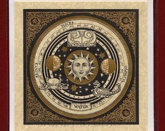 Vintage Zodiac Art Cards, Lithograph Set Gold Foil