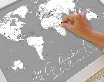 Personalized World Map Poster Anniversary Gift | Couples Travel Map With Labeled Countries, States | I'll Go Anywhere Unframed Print 16x20