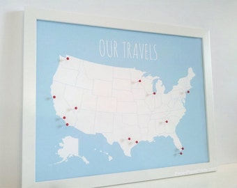 Us Map On Cork Board.Us Corkboard Map Etsy