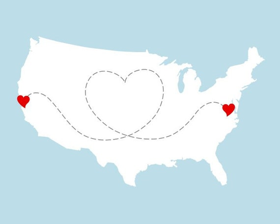 Custom Long Distance Map - USA Map With Heart - Two Locations - United  States Wall Art - Personalized Art Print, Wedding Gift 8x10