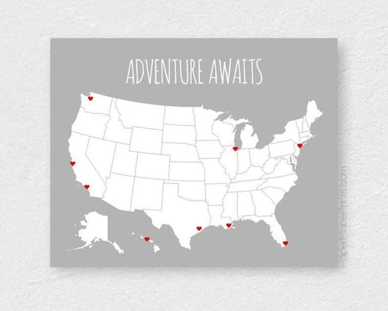 US Map Poster Adventure Awaits Places Traveled Road Trip | Etsy Interactive Travel Map Of The Us on