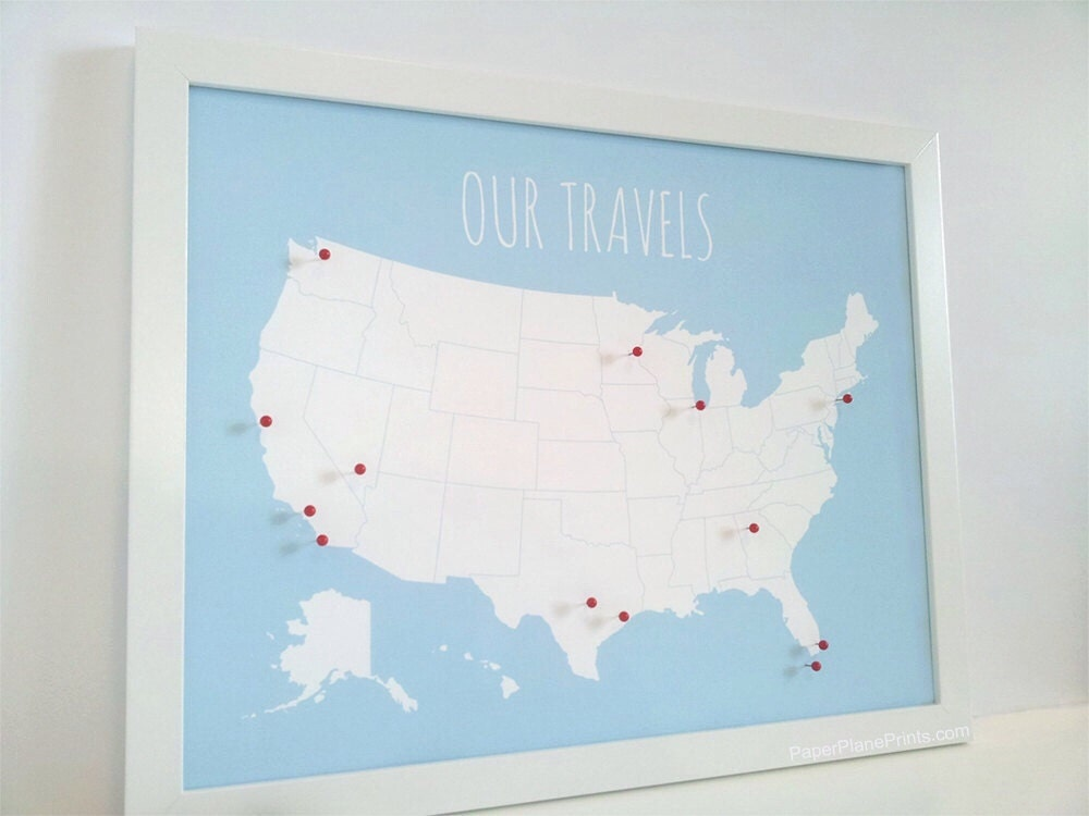 US Map With Pins United States Push Pin Map for Couples Wall | Etsy