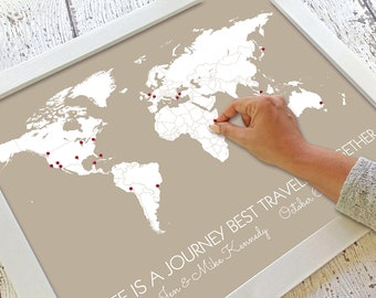 Personalized Travel Themed Wedding Gift for Husband | World Travel Pin Map | First Year Paper Anniversary Gifts for Him | Minimalist Decor
