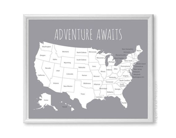 United States Travel Map Print | US Map for Places Visited | Vacation Road  Trip Map of USA | First Year Paper Anniversary Gift for Husband