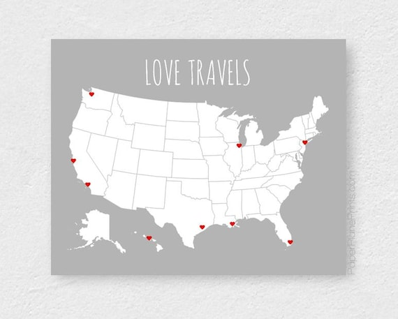 USA Travel Map | United States Map | Road Trip and Family Vacation Map  Poster | US Map | Husband First Anniversary | Gift for Him 16x20