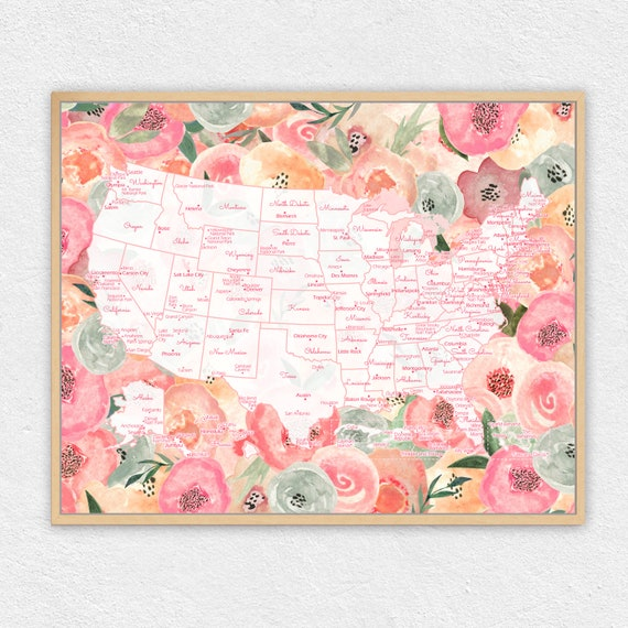 Diy US Map Print for Cities Visited | Watercolor Floral Wall Art | United  States Vacation Pin Map | USA Travel Map Home Decor 16x20