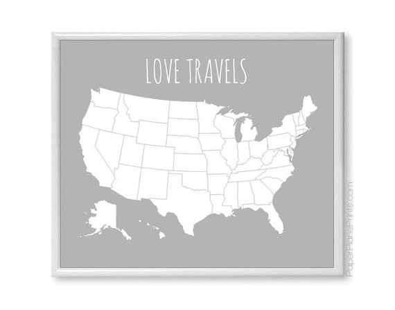 USA Travel Map with Stickers Couple Map Love Travels | Etsy