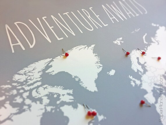 diy travel map world map poster with tacks or heart stickers etsy