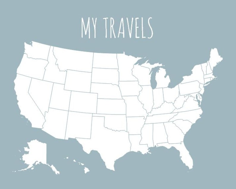 My Travels Usa Map Gallery Wall Decor United States Travel Etsy - Us-travel-map